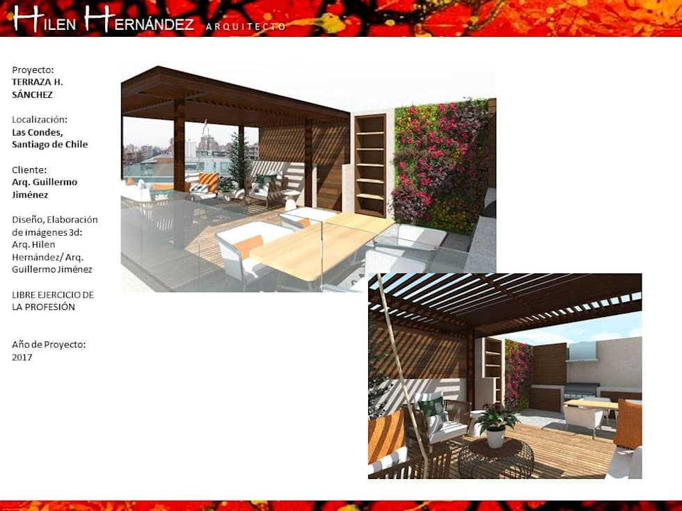 TERRAZA EN  ÑUÑOA: Terrazas  de estilo  por H3A ARQUITECTOS