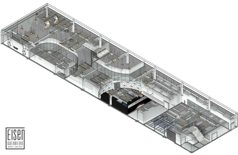 Planta Isométrica 3D del Techo.01: Oficinas de estilo escandinavo por Eisen Arquitecto