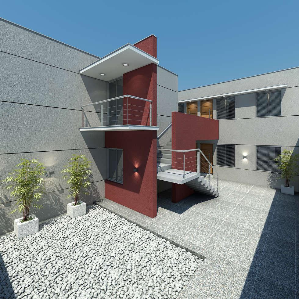 Complejo de departamentos.: Casas de estilo moderno por Agustín Reyes - Zoom Arquitectura.