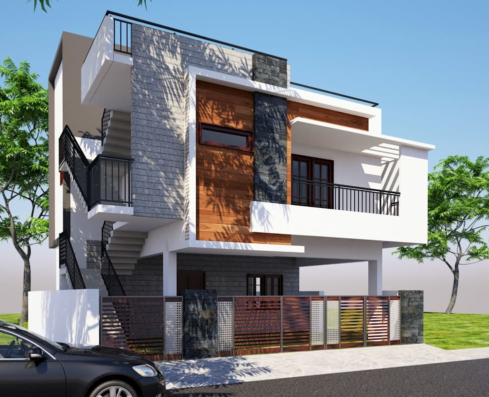 Front Elevation: modern Houses by Klass Designers and Contractors
