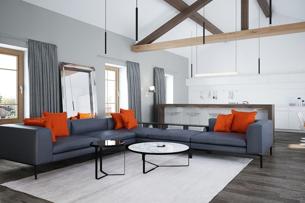 Grand salon : Salon de style de style Moderne par réHome