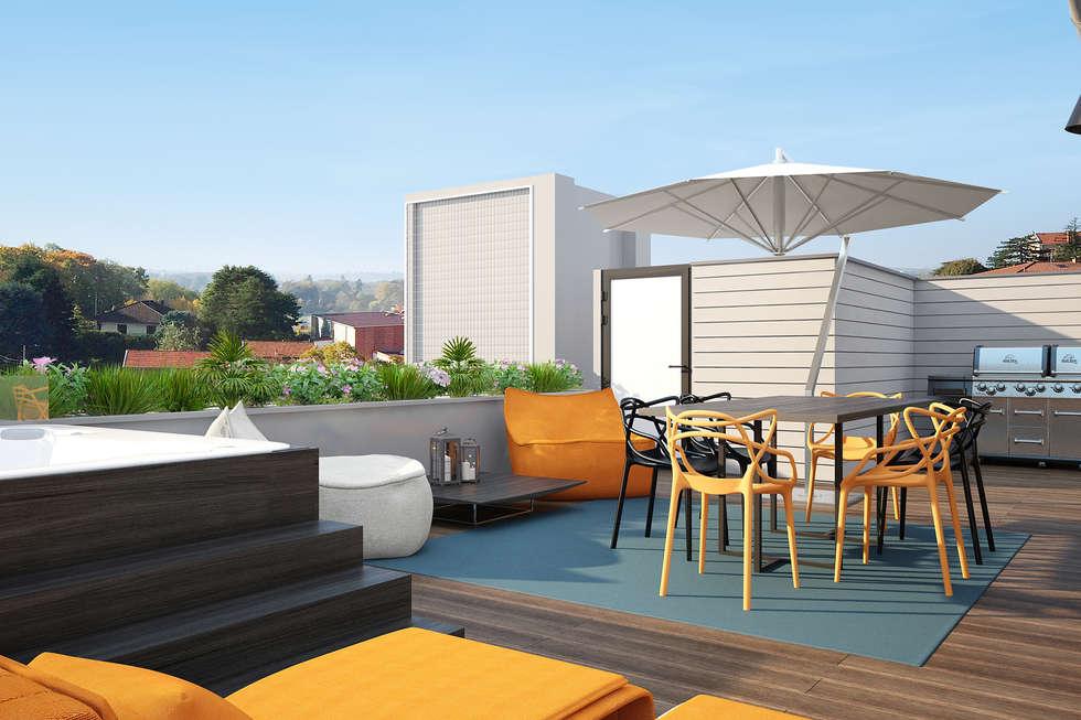 Toit-terrasse : Terrasse de style  par réHome