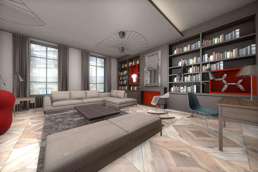 Salon gris et rouge: Salon de style de style Moderne par réHome