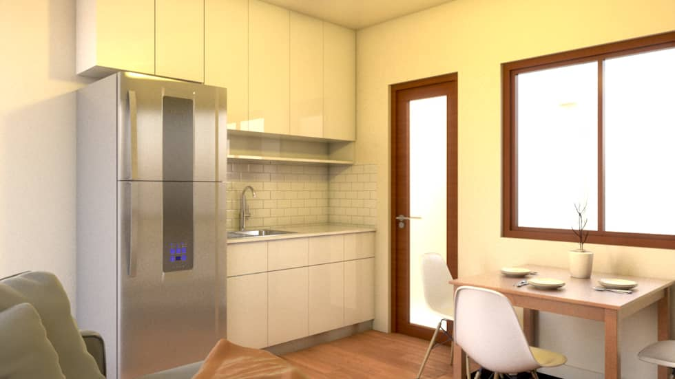 Unit 2 Studio Type Apartment:  Kitchen units by MG Architecture Design Studio