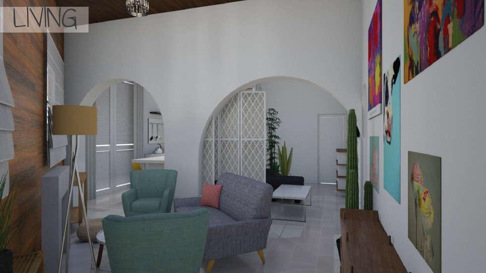 Render 3D - Living: Livings de estilo ecléctico por Mica Chapado