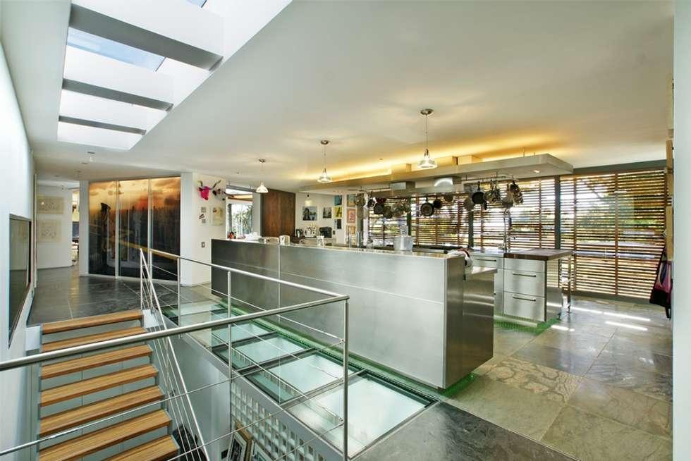 View of Kitchen:  Built-in kitchens by Van der Merwe Miszewski Architects