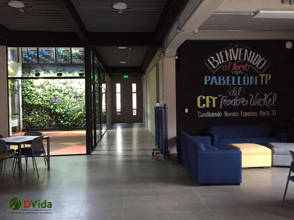 Biblioteca y patio interior muros verdes: Estudios y biblioteca de estilo  por DVida Jardines verticales