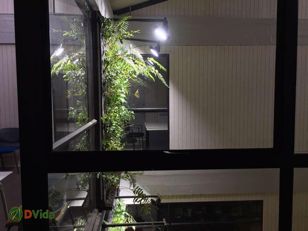 Vista segundo piso muros verdes CFT Teodoro Wickel: Estudios y biblioteca de estilo  por DVida Jardines verticales