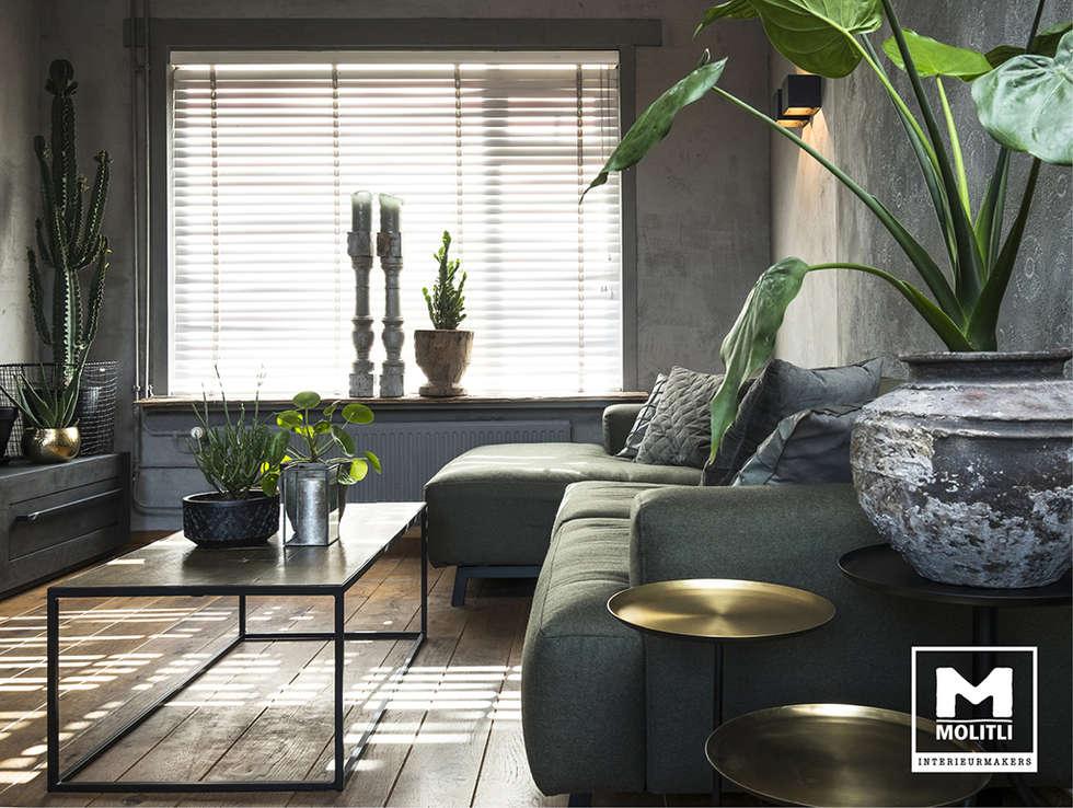 Restyling woonkamer : industriële woonkamer door molitli ...