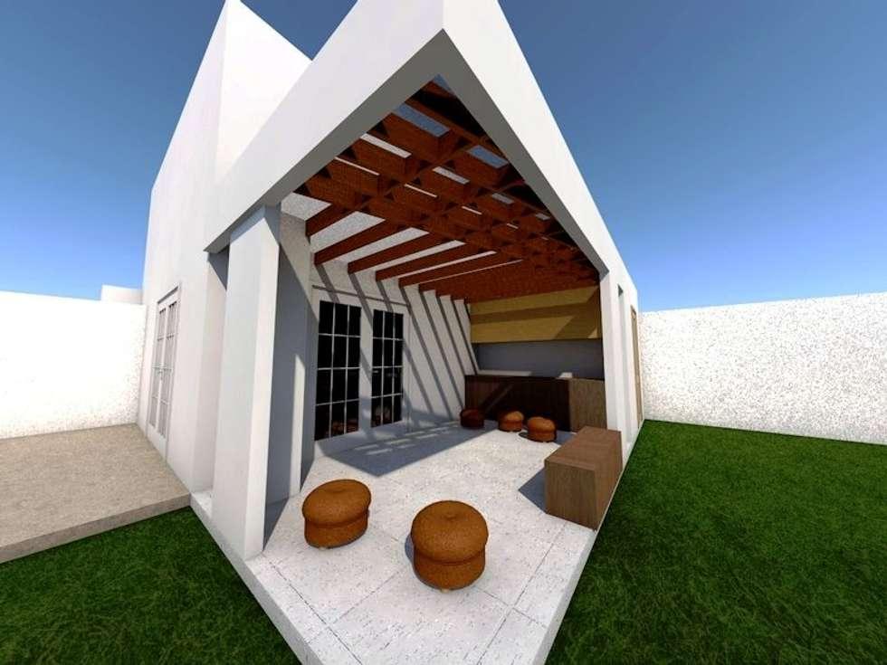 vista desde piscina: Terrazas  de estilo  por SoLazuL arquitectos