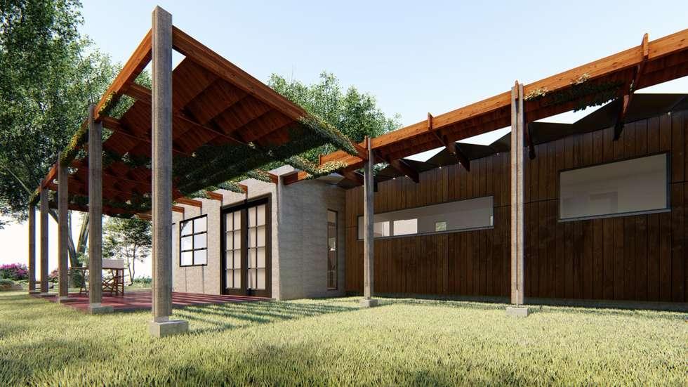 Fachada norte_ Control Solar: Casas ecológicas de estilo  por BIM Urbano