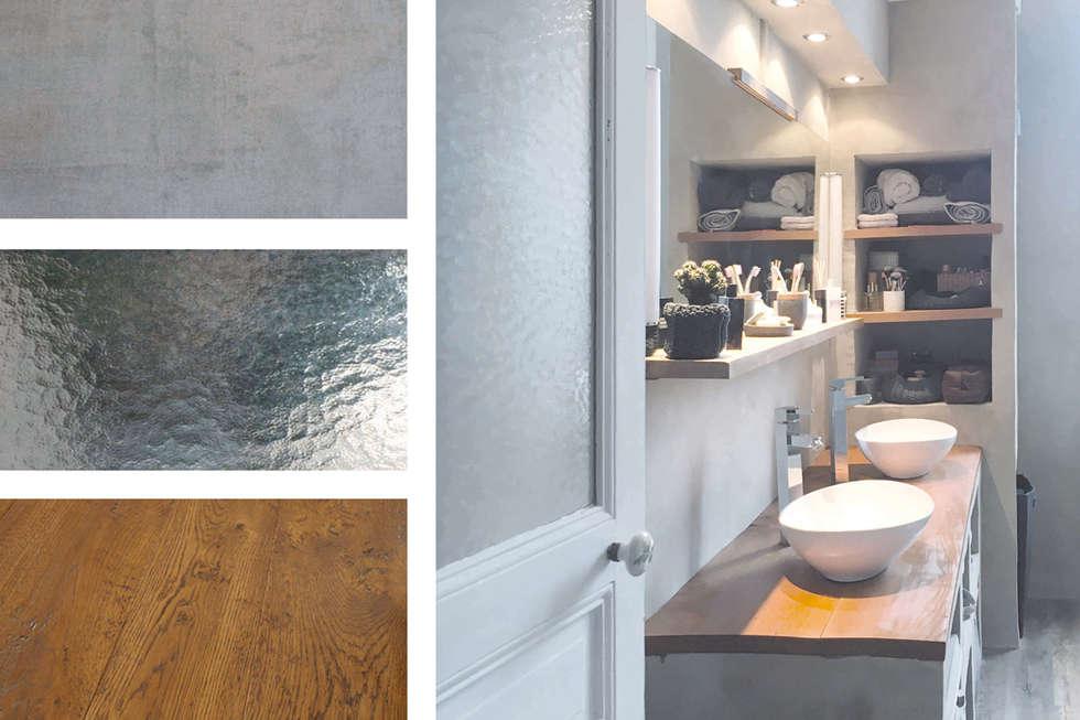 Du béton et du bois pour une salle de bain chaleureuse.: Salle de bains de style  par SOHA CONCEPTION