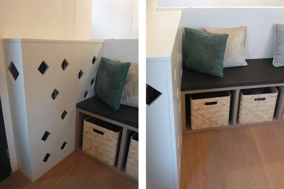 Petit banc et cache-radiateur sur mesure: Couloir et hall d'entrée de style  par SOHA CONCEPTION