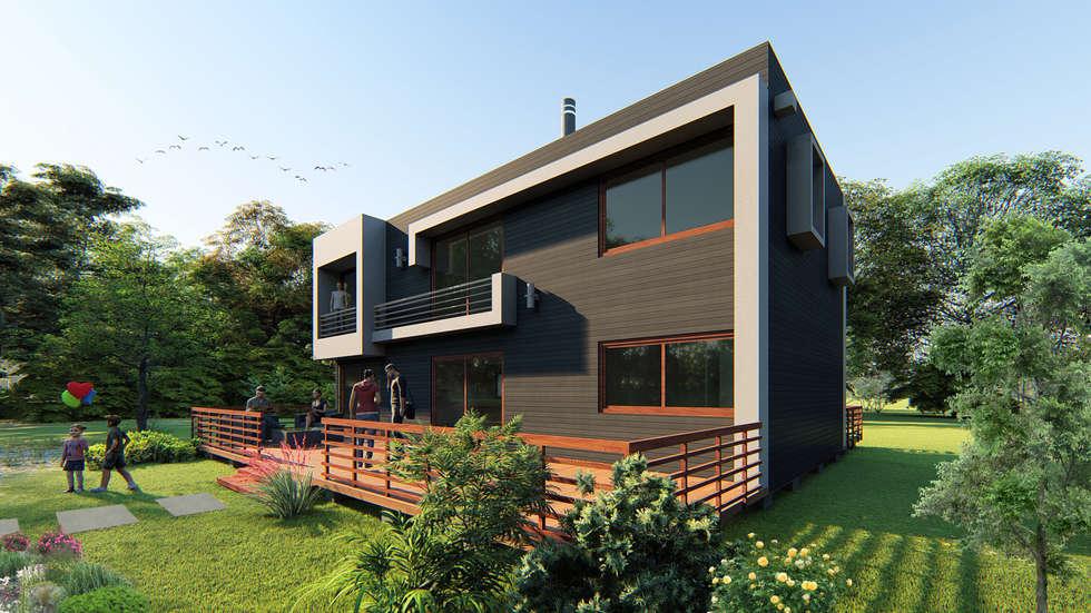 CASA GUTIERREZ: Casas de madera de estilo  por AOG