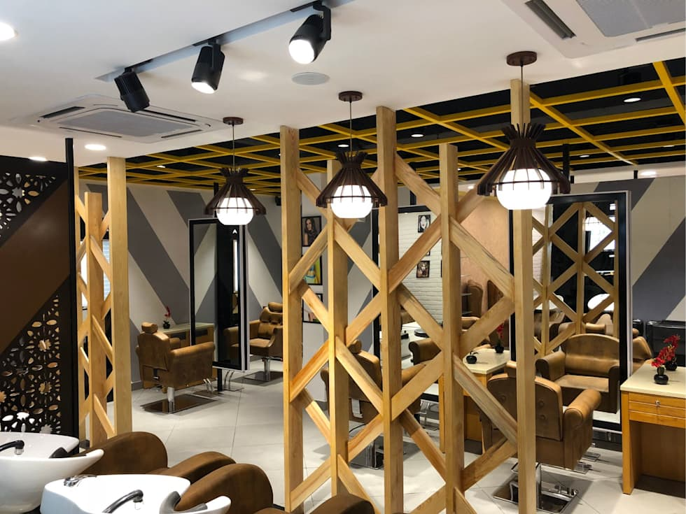 looks salon interior design project commercial spaces by just interio pvt ltd