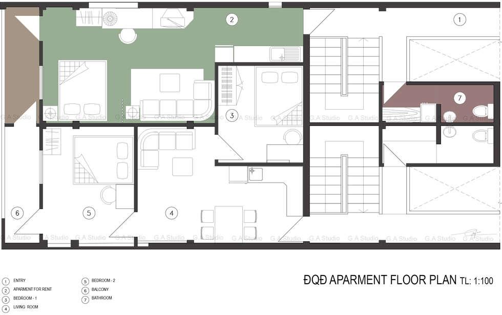 Floor plan:  Nhà cho nhiều gia đình by G.A Studio