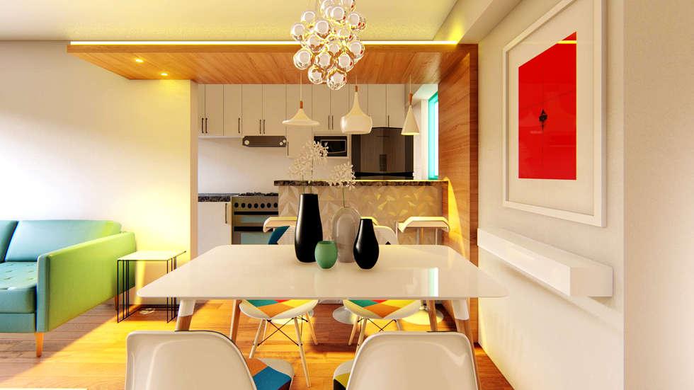 Comedor blanco y cristal: Comedores de estilo moderno por Mauriola Arquitectos
