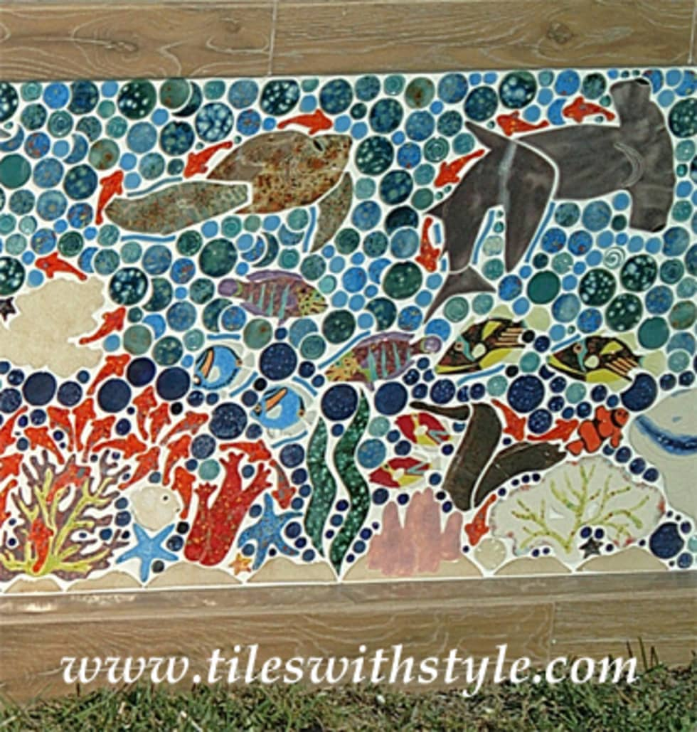 Close up picture of great barrier reef, large mosaic tile patio ...