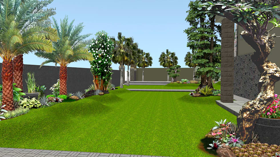 Desain 1 taman rumah surabaya jawa timur:  Taman by TUKANG TAMAN SURABAYA - jasataman.co.id