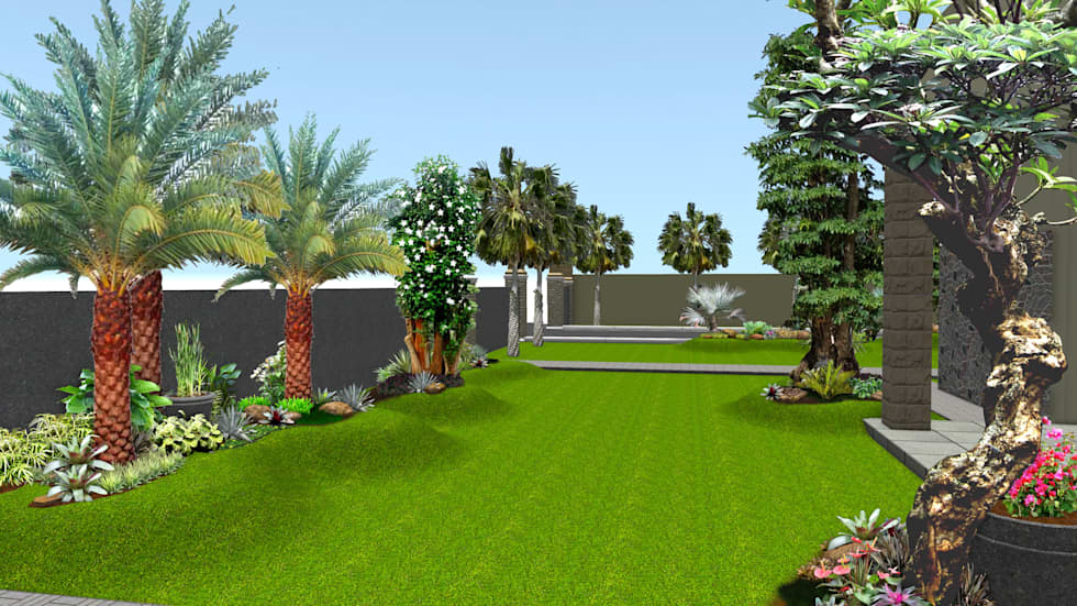 Desain 2 Taman rumah surabaya jawa timur:  Taman by TUKANG TAMAN SURABAYA - jasataman.co.id