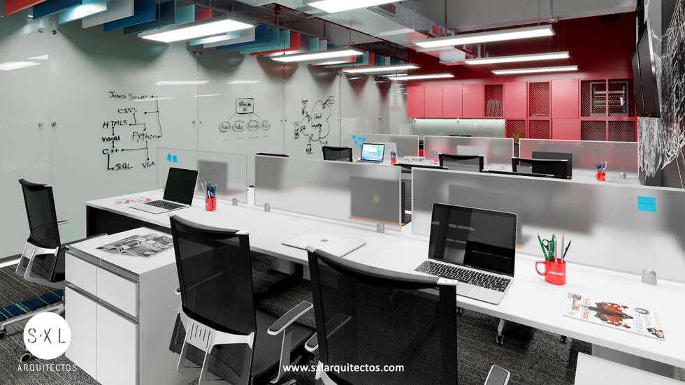 Detalle área de trabajo: Oficinas de estilo moderno por SXL ARQUITECTOS
