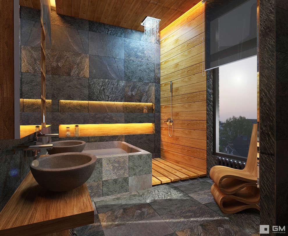 10 ideas con piedra que har n que tu ba o se vea moderno y - Fotos banos modernos para casa ...