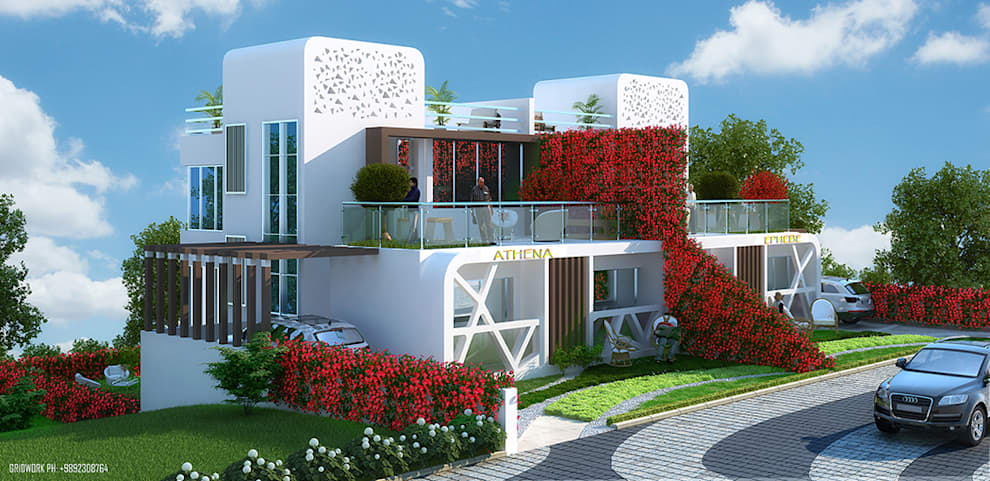 OLYMPIODOROS-  MOUNTAIN HOME OF GREEK GODS......... THIS APT NAME HAS BEEN SUGGESTED BY THE DESIGNER FUSING IN THE ARCHITECTURE WITH THE LANDSCAPE , STREET LIGHTS, PATHWAY FLOORS, COLOR SCHEME, ALL BASED ON GREEK THEME...: mediterranean Houses by AIS Designs