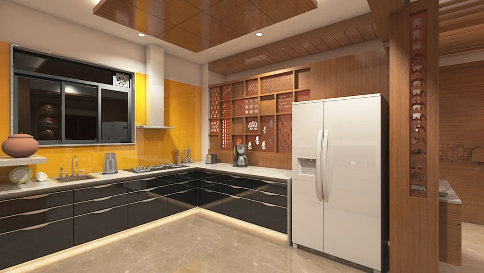 DR. BHAVESHBHAI CHUAHAN RESIDENCE: modern Kitchen by INCEPT DESIGN SERVICES