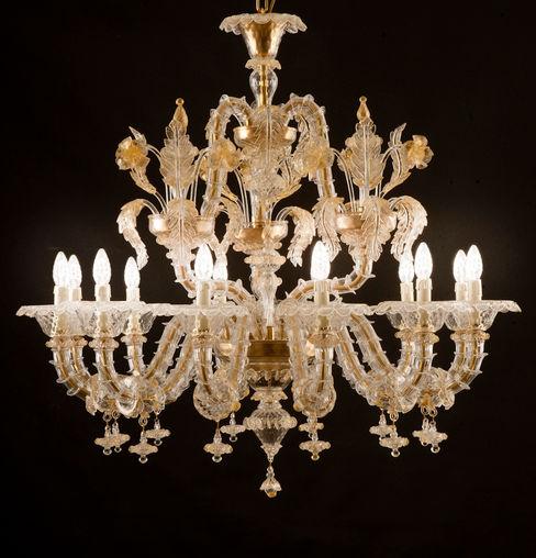Lampadrio classico Rezzonico in cristallo e oro - VENIER YourMurano Lighting SoggiornoIlluminazione Vetro Ambra/Oro