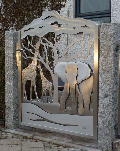Artistic Gates Edelstahl Atelier Crouse: Jardins modernos