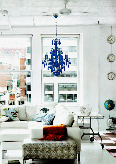 An electric blue flocked 8 lamp Jasmine chandelier Thomas & Vines Ltd Living roomLighting