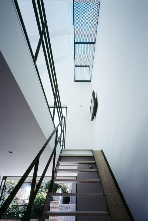 1階 天窓 高橋直子建築設計事務所 ミニマルスタイルの 玄関&廊下&階段