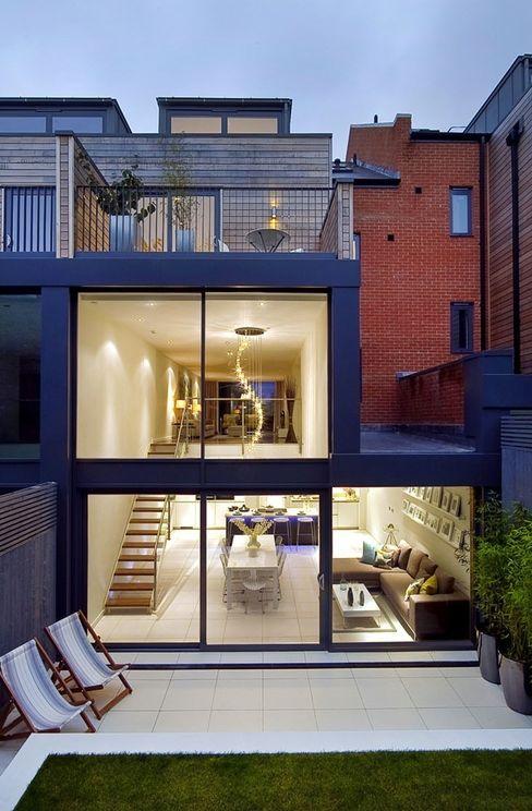 Rear external - showing kitchen / living / dining room LLI Design Modern living room