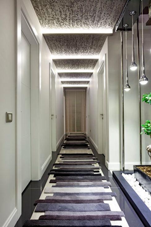 Mimoza Mimarlık Modern corridor, hallway & stairs
