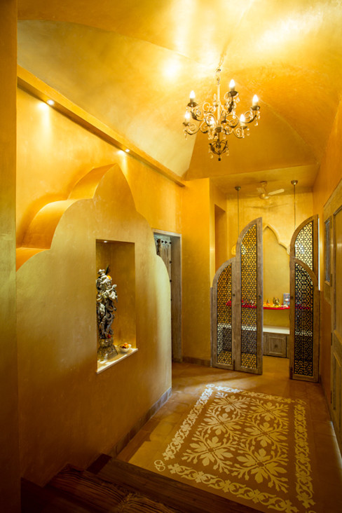 House in Pune The Orange Lane Corredores, halls e escadas ecléticos