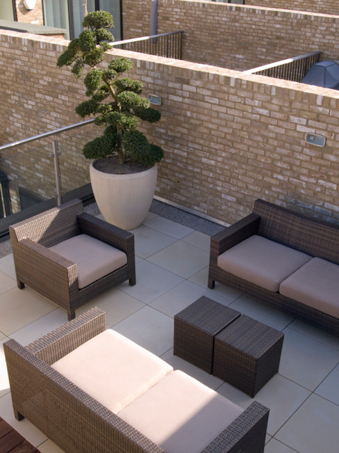 Sandstone Paving Paul Dracott Garden Design Minimalist balcony, veranda & terrace