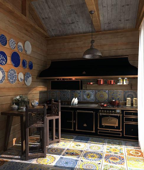 A design of the private house in the settlement of the closed type .Anarchi&I. Maltsev AnARCHI Cocinas de estilo rústico