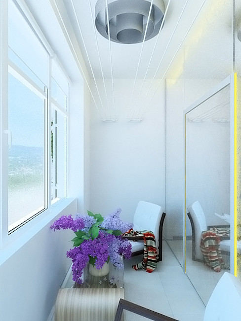 Дизайн студия Александра Скирды ВЕРСАЛЬПРОЕКТ Industrial style balcony, veranda & terrace