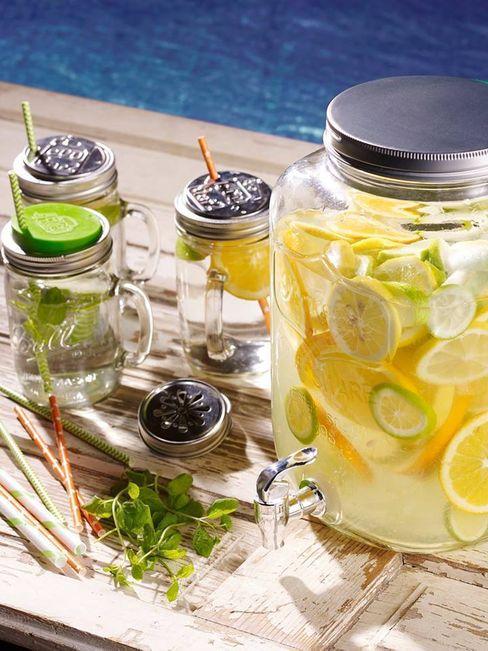 Mason jar bekers met dispenser Mason Jar Kitchen KeukenBestek, servies & glaswerk