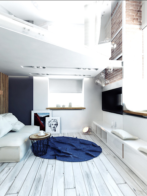 IK-architects Industrial style living room