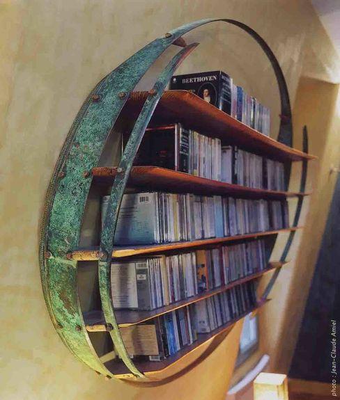 Audiothèque pour Compact Discs - vue de profil Jean Zündel meubles rares SalonStockage