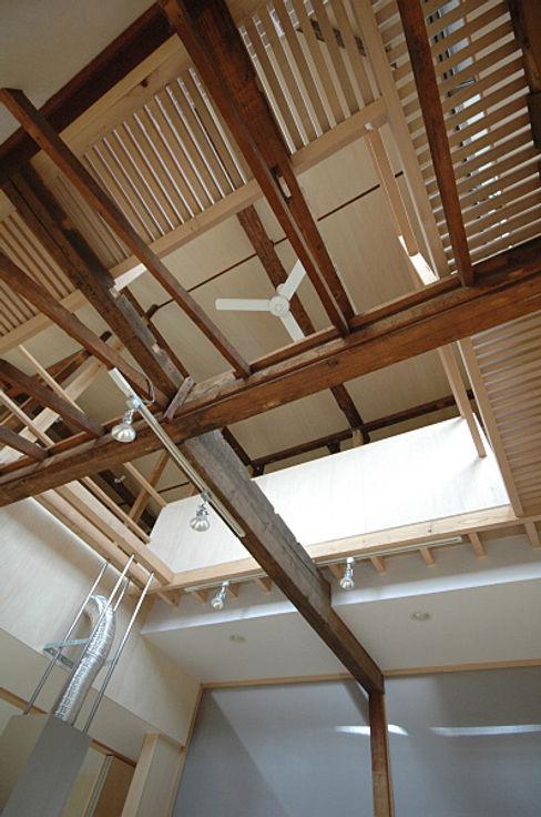 吹抜けを見上げたところ 大庭建築設計事務所 モダンデザインの 多目的室
