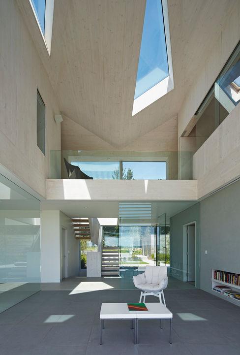 Interior Double Height Reception Space Wilkinson King Architects Modern balcony, veranda & terrace