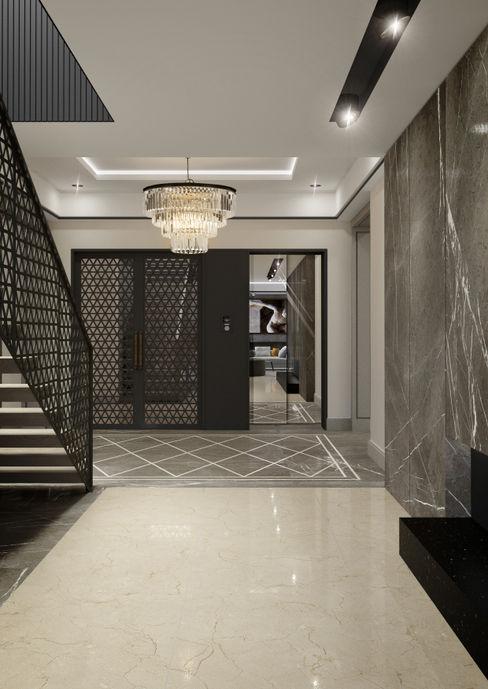 Dom w Wawrze 3deko Nowoczesny korytarz, przedpokój i schody