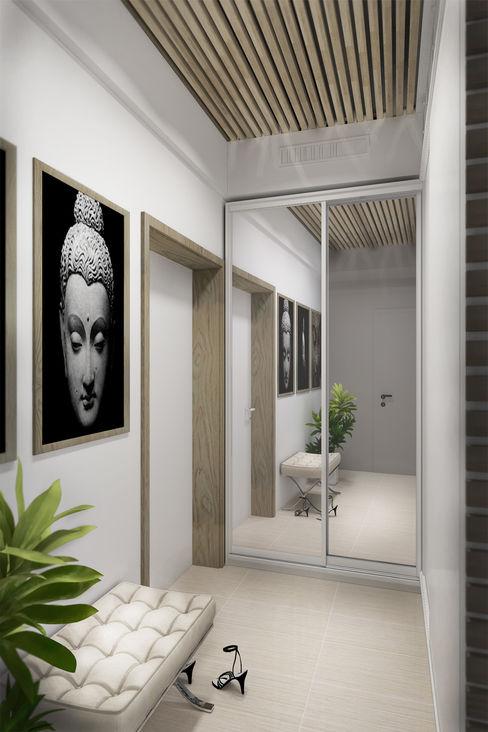 Дизайн-студия HOLZLAB industrial style corridor, hallway & stairs
