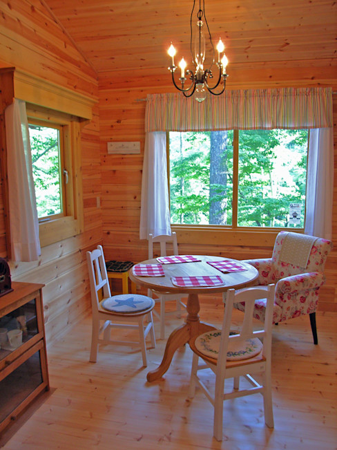 Bird House Lodge in Woods, Japan Cottage Style / コテージスタイル Salas de estilo rural Madera Acabado en madera