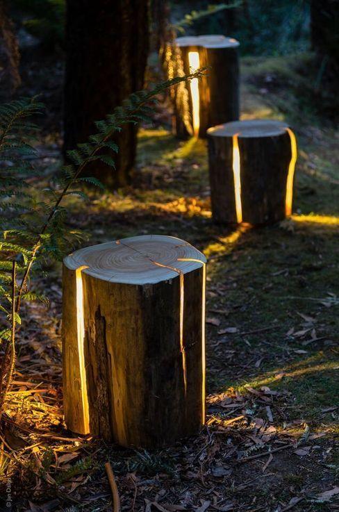 Cracked Log Lamps Duncan Meerding GartenBeleuchtung