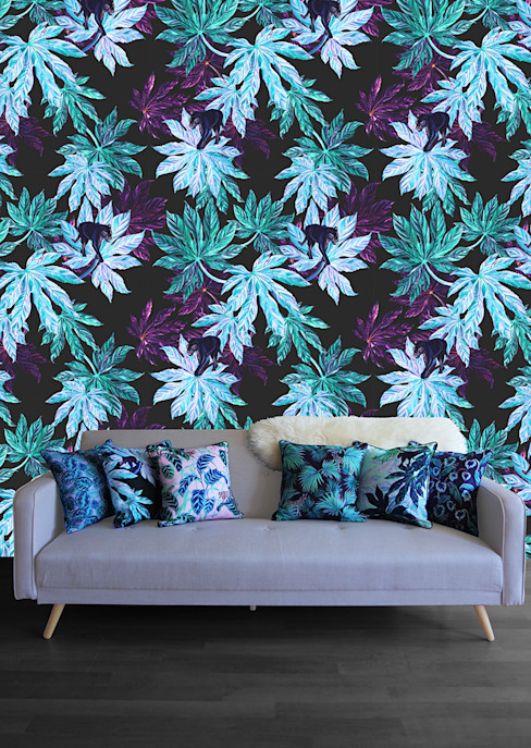Puma Palm Wallpaper and cushion collection Righteous Raven HouseholdTextiles