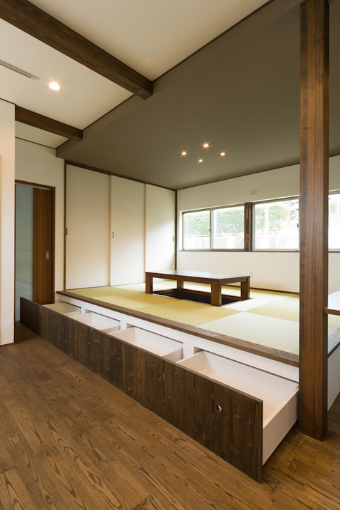 和室引き出し収納 株式会社かんくう建築デザイン モダンデザインの ダイニング