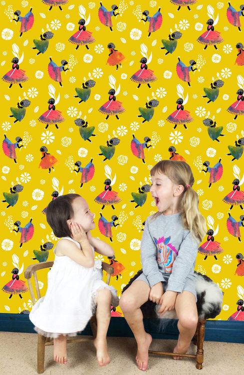 Flower Girls - Wallpaper - Yellow Sas and Yosh 벽 & 바닥벽지